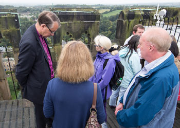 Role of prayer is examined including cathedral tower workshop